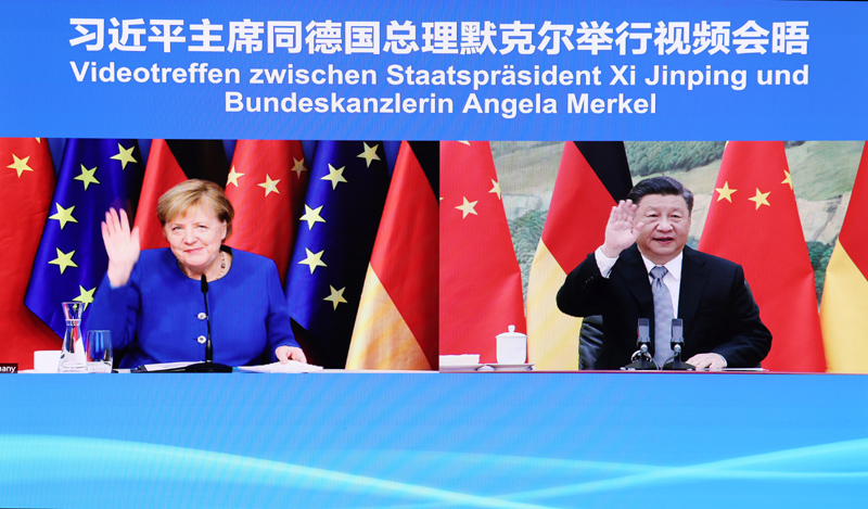 习近平同德国总理默克尔举行视频会晤